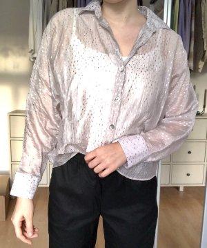 Zara Camicetta a maniche lunghe grigio chiaro-argento