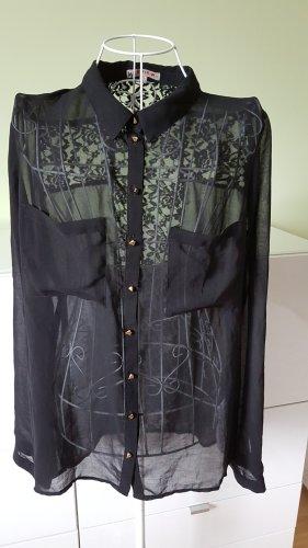 Transparente Bluse mit Spitze und goldenen Knöpfen Gr. 40