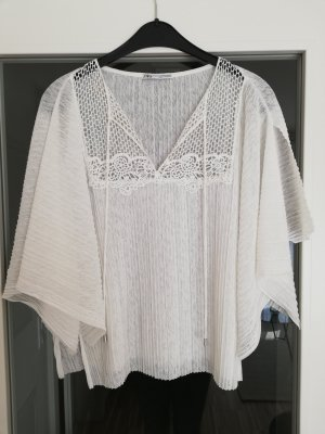 Transparente Bluse mit Spitze von Zara in XS