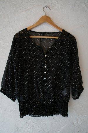 Transparente Bluse schwarz mit Herzchen Vero Moda Größe XS
