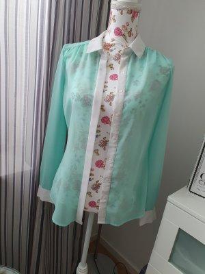 3 Suisses Transparante blouse wit-turkoois