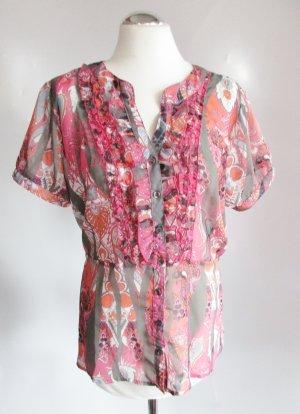 Transparente Chiffon Tunika Wissmach Größe 44 XL Pink Rosa Grau Rüschen Kurzarm Bluse Paisley