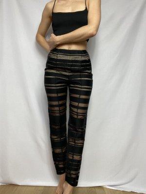 Malaika Raiss Pantalone a vita alta nero-color carne