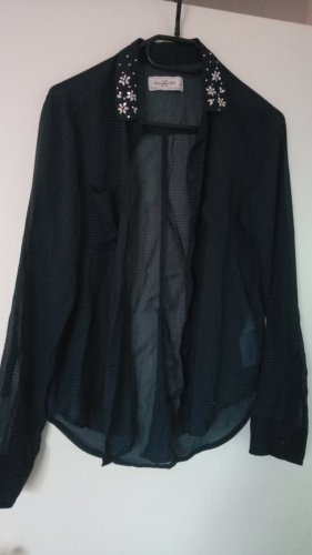 Abercrombie & Fitch Checked Blouse dark blue