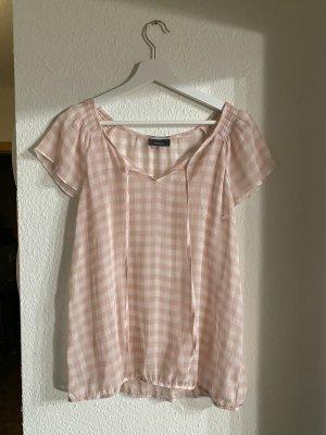 Transparente Kurzarm Bluse mit rosafarbenem Karomuster