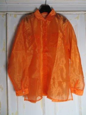 transparente Oversize Bluse in leuchtendem Orange S M L Vintage