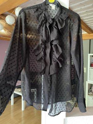 H&M Bluzka z falbankami czarny