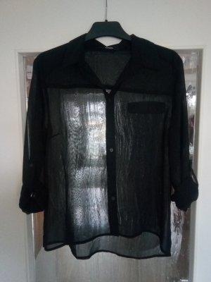 Transparente schwarze Langarmbluse zum Krempeln