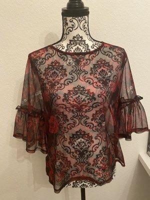 Manguun Transparent Blouse black-dark red spandex