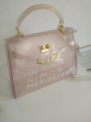 Transparente Tasche hellrosa mit goldener Hardware neu