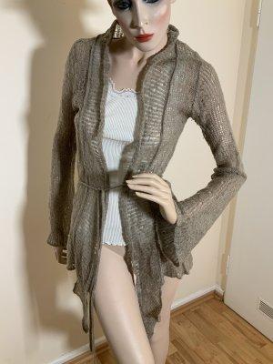 Salepepe Wełniany sweter szaro-brązowy