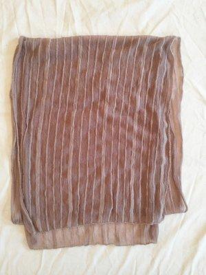 Transparenter gestreifter Schal in Grauton mit Unterton in Flieder