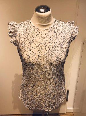 Crochet Shirt white-black
