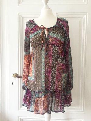 Transparentes buntes Kleid / Longbluse mit Volants