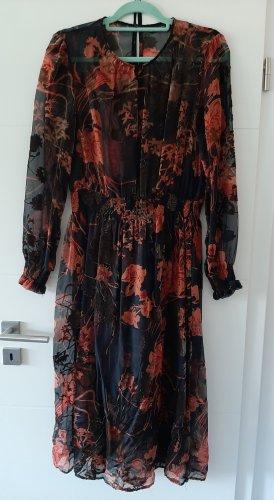 Zara Woman Szyfonowa sukienka Wielokolorowy