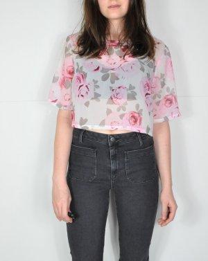 Transparentes Hippie Shirt in Weiß mit rosanen Rosen