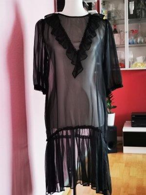 Transparentes Kleid, Luftig, Sommer, Schwarz (K3)