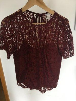 H&M Gehaakt shirt donkerrood