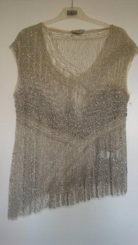 transparentes T-Shirt mit silber Aufnähten von Zara
