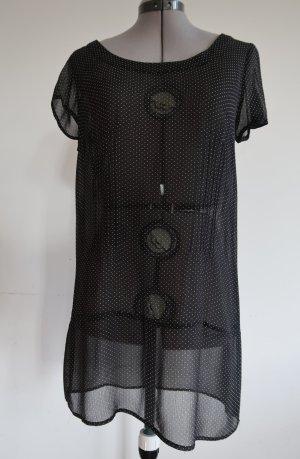 transparentes Tunika Top von Kimchi & Blue schwarz mit weißen Punkten Gr. M (Gr. 38)