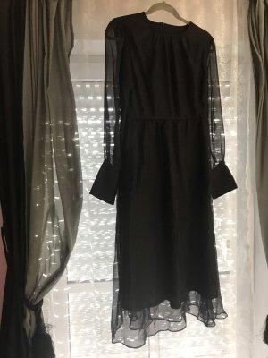 Transparenz Langarm Maxi Kleid schwarz gr. 38