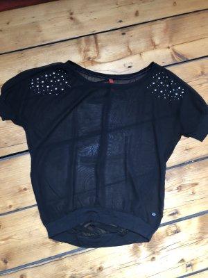 Transparenzbluse / Shirt kurzarm mit Pailetten