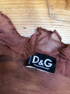 Transparenzbluse von Dolce & Gabbana mit Rüschen in Größe 36