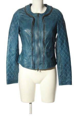 Trapper Queens Lederjacke blau Casual-Look