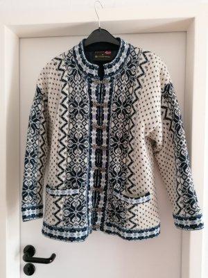 Cardigan norvégien blanc-bleu laine