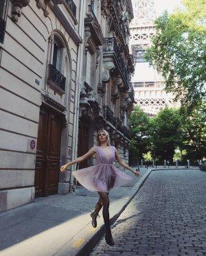 H&M Vestido de chifón color rosa dorado