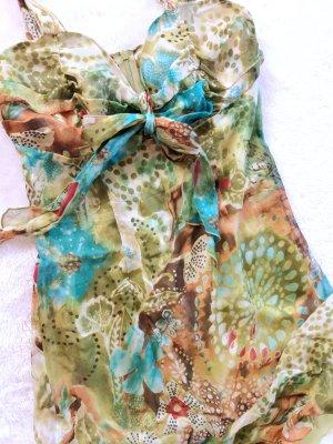 Traumhaft schönes Seidenkleid leuchtende Farben Muster Gr 36 von Piu &  Piu
