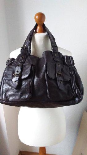 Traumhafte Designertasche dunkelbraunes Kalbsleder 24 h