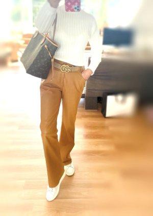 Dior Pantalone in pelle cognac-marrone chiaro