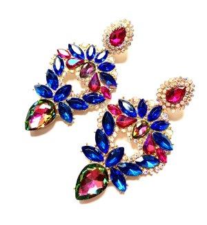 Traumhafte Luxus Ohrringe Blau Funkeln Abendkleid