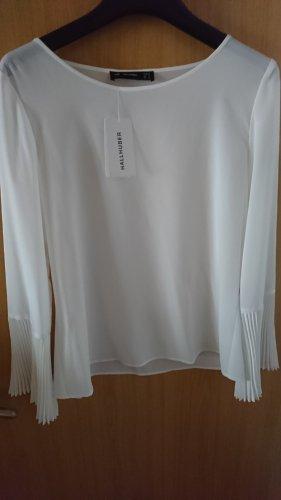 traumhafte weiße Bluse mit Plissee-Ärmeln von Hallhuber