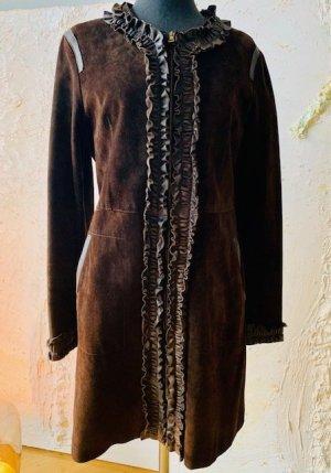 Gold Case Manteau en cuir brun foncé-brun cuir