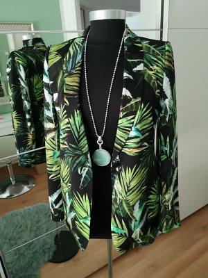 Claudia Sträter Jersey Blazer negro-verde bosque acetato