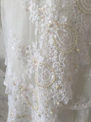 Antica Sartoria Kanten jurk wolwit Gemengd weefsel