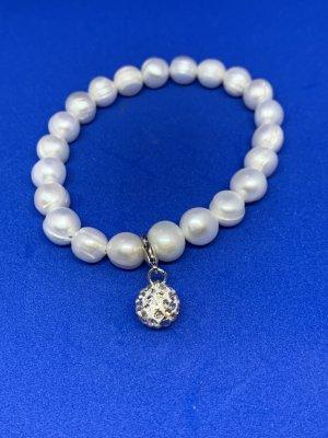 Bracciale di perle bianco-grigio chiaro