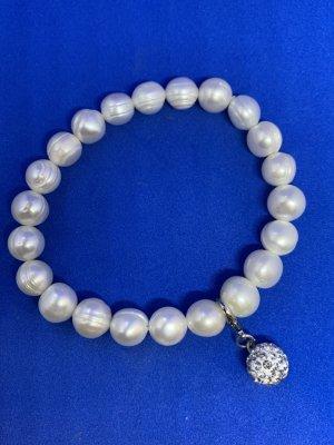 Bransoletki z perłami biały-jasnoszary