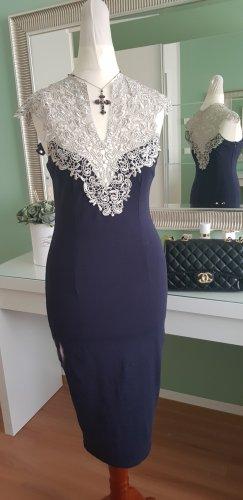 AX Paris Sheath Dress natural white-dark blue mixture fibre