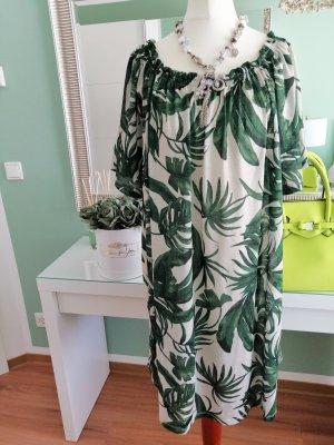 H&M Sukienka z baskinką jasnobeżowy-leśna zieleń Bawełna