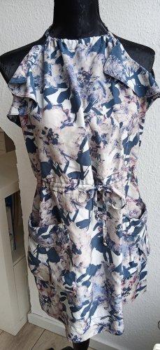 Anthropologie Mini vestido azul acero Seda