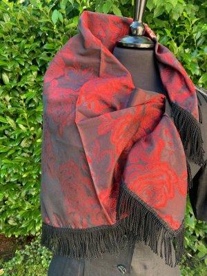Traumhaftes Seidentuch 75x75cm rote Rosrn schwarz mit Fransen Maxituch Schultertuch Kopftuch