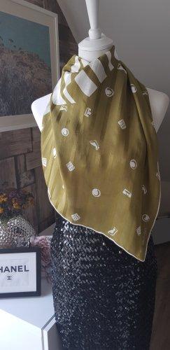 Foulard en soie beige clair-gris vert soie