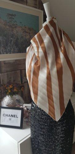 Foulard en soie marron clair-beige clair soie