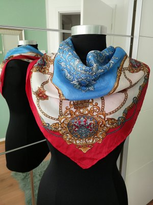 Panno di seta rosso-blu neon Seta