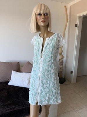Traumhaftes Sommerkleid .. Spitze .. Blüten .. Mesh .. weiß/hellgrün Gr. 38 #Eureka# Neu