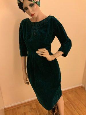 Traumhaftes Vintage Kleid aus tannengrünem Samt