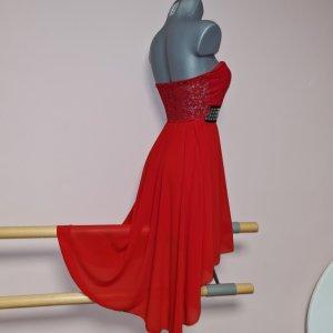 Traumhaftes Vokuhila Kleid XS 34 Bustier Schalen Spitze rot topp stretch neu